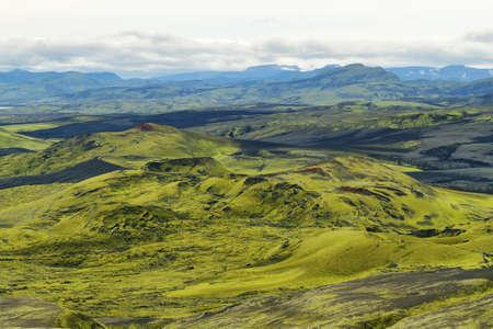 Paisaje volcánico en Lakagígar, tierras altas de Islandia Foto de archivo - 34032918