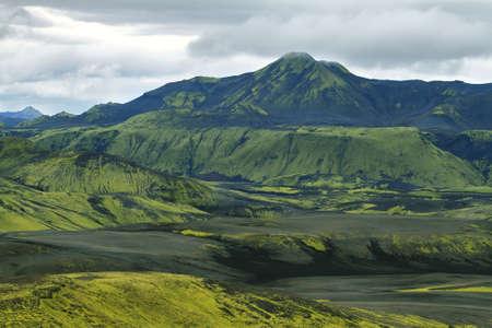 Volcanic landscape in Lakagigar, Iceland highlands photo