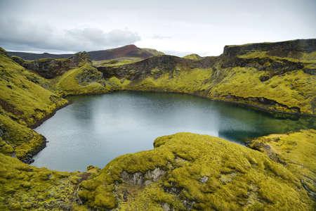 crater lake: Tjarnargigur crater lake in Lakagigar, Iceland