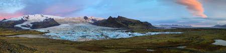 glacial: Sunrise at Fjallsarlon Glacial Lagoon of Vatnajokull glacier, Iceland
