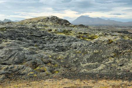 Volcanic landscape in Krafla geothermal area, Iceland. photo
