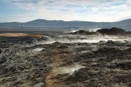 volcanic stones: Volcanic landscape in Krafla geothermal area, Iceland. Stock Photo