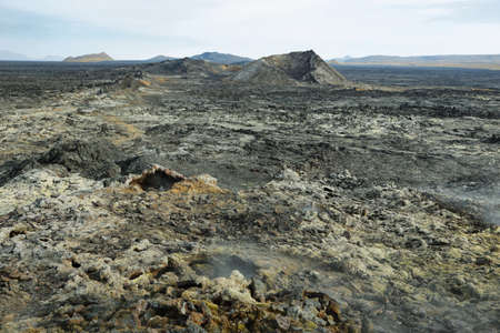 volcanism: Volcanic landscape in Krafla geothermal area, Iceland. Stock Photo