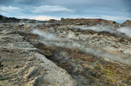 volcanic: Volcanic landscape in Krafla geothermal area, Iceland. Stock Photo