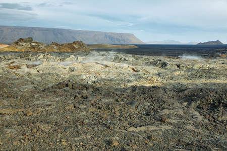 geothermal: Volcanic landscape in Krafla geothermal area, Iceland. Stock Photo