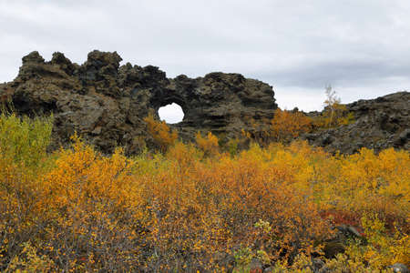 Shaped lava fields of Dimmuborgir area, east of Myvatn in Iceland