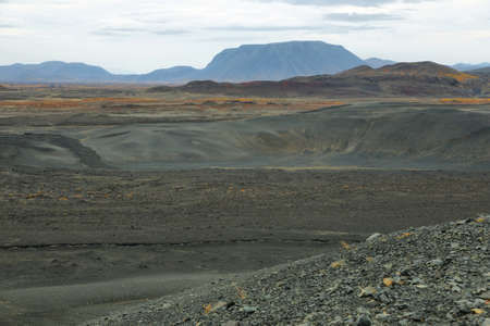crater highlands: View of volcanic landscape from Hverfjall crater, Iceland Stock Photo