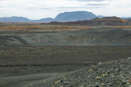 crater highlands: Vista del paisaje volc�nico del cr�ter Hverfjall, Islandia Foto de archivo