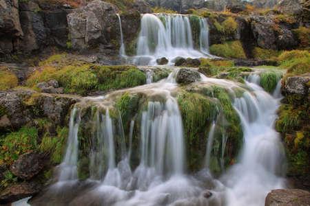 Cascada de Dynjandi en Westfjords, Islandia Foto de archivo - 35945764