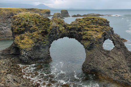 basalt: Basalt formations at Arnarstapi. Snaefellsness peninsula, Iceland Stock Photo