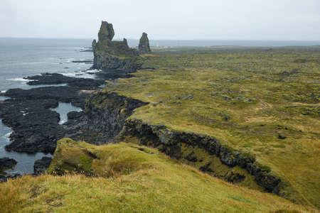 basalt: Two major basalt formations at Londrangar. Snaefellsness peninsula, Iceland