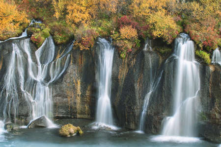 fountainhead: Hraunfossar waterfall in autumn, Iceland