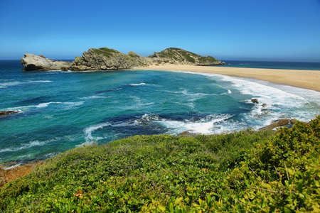 Idyllic beach in Robberg nature reserve in South Africa