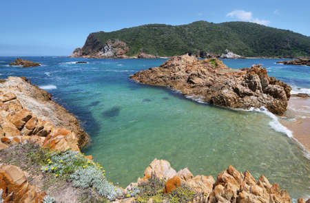enters: The Heads in Knysna where the lagoon enters the sea, South Africa