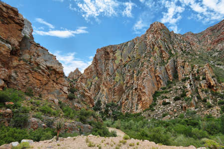 Majestic rocky redish mountains in Swartberg pass, South Africa