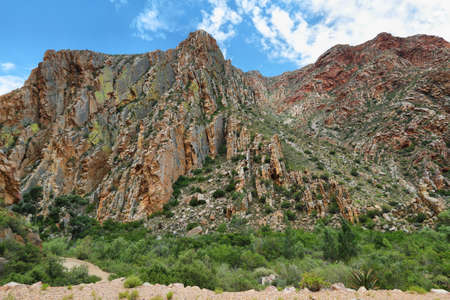 south africa soil: Majestic rocky redish mountains in Swartberg pass, South Africa