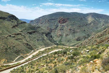 south africa soil: Winding road and gorge in Swartberg pass, South Africa Stock Photo