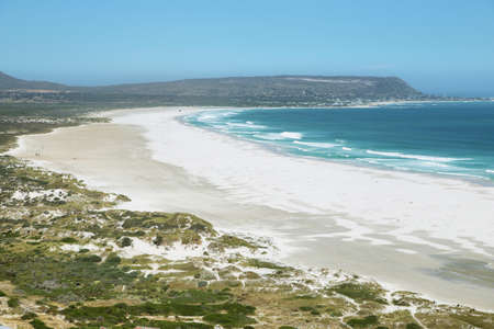 chapmans: View of Noordhoek Beach from Chapmans Peak Drive on the Cape Peninsula near Cape Town, South Africa. Stock Photo