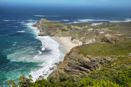 cape of good hope: Dias Beach and the rugged cliffs between Cape Point and Cape of Good Hope, South Africa.