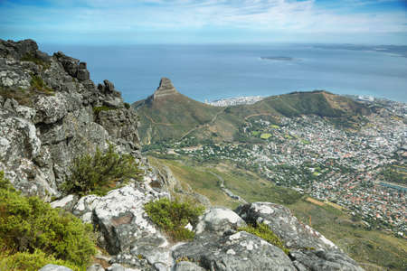 robben island: View of Lions Head from table mountain, Cape Town, South Africa Stock Photo