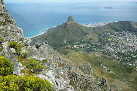 robben island: View of Lions Head and cable car from table mountain, Cape Town, South Africa