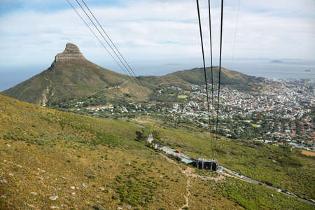 robben island: View of Lions Head from cable car of table mountain, Cape Town, South Africa