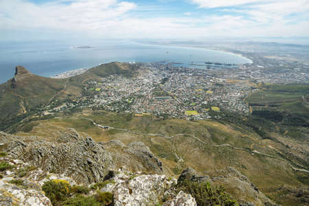 robben island: View of Lions Head and the city from table mountain, Cape Town, South Africa