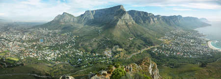 western town: Table Mountain and twelve apostles from Lions head, Cape Town, South Africa