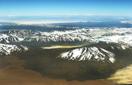 high plateau: Aerial andean Atacama desert landscape of Antofagasta region, Chile Stock Photo