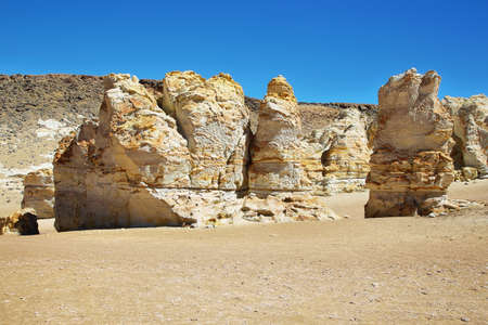 tara: Curious white and yellow formations on the way to Salar de Tara, El Loa province, Chile