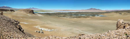 high plateau: View of chilean high plateau desert with Salar de Tara at background, Chile