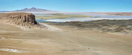 tara: View of chilean high plateau desert with Salar de Tara at background, Chile