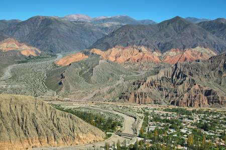 patrimony: Views of colorful mountains from Tilcara,  Jujuy province, Argentina