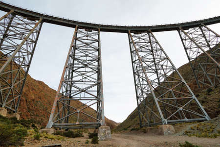 Viaduct La Polvorilla where famous high altitude train to the Clouds pass through, Salta, Argentina Stock Photo