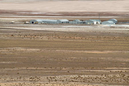 high plateau: View of buildings of salt mine of Salar del Rincon in Sico Pass, Argentina