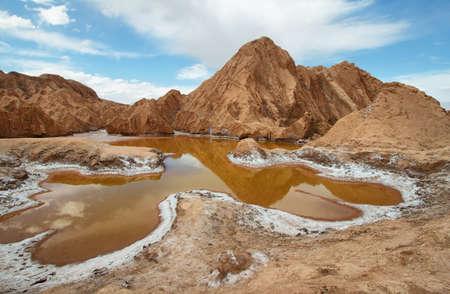 Orange pond in Valley of Mars - Atacama Desert - Chile