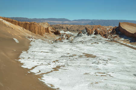 geological formation: Amphitheatre is beautiful geological formation of Moon Valley in Atacama Desert, Chile Stock Photo