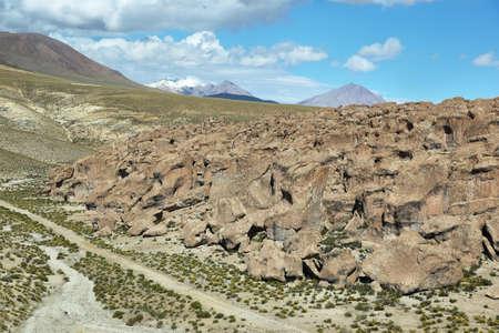 redish: Curious rock formations of Valle de la felicidad near Cariquima, Chile