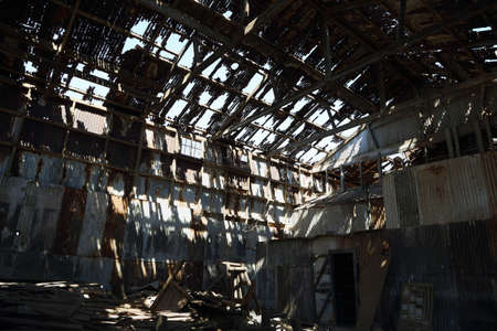 ruinous: Ruined building and roof at the historic Humberstone Saltpeter Works in the Atacama Desert near Iquique in Chile.   Editorial