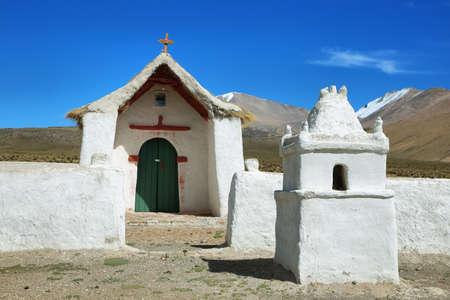 high plateau: Church in the Volcano Isluga National Park, Chile Stock Photo
