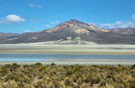 high plateau: Colorful mountains in Salar de Surire national park, Chile Stock Photo