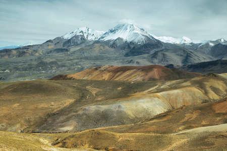 nevado: Nevado de Putre and colorful mountain views from Cerro Milagro, Lauca national park, Chile