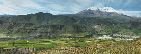 nevado: Putre village with Nevado de Putre at background, Chile