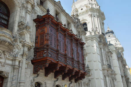 plaza de armas: A cedar balcony in the Archbishops Palace on the Plaza Mayor (formerly known as the Plaza de Armas) in Lima, Peru