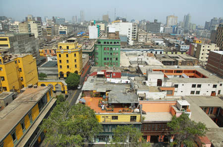 peru: Elevated view of Lima from Santo Domingo convent, Lima, Peru Stock Photo
