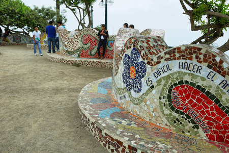LIMA, PERU - APRIL 19: El Parque del Amor, love park in Miraflores, on April 19, 2015 in Lima, Peru.  The park is supposedly inspired by Antoni Gaudi Parc Guell in Barcelona. Editorial