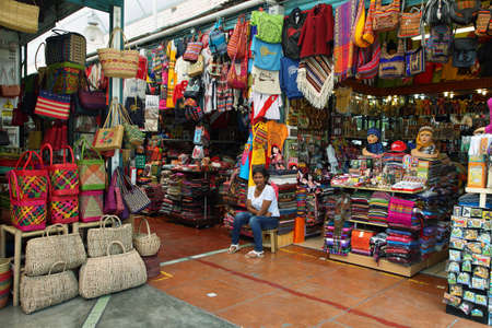 incan: LIMA, PERU - APRIL 19:View of a market stall with incan handicraft and peruvian souvenirs on April 19, 2015 in Lima, Peru.