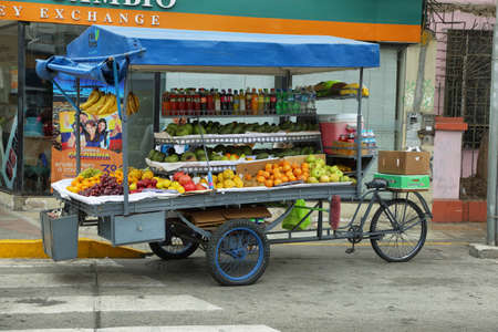 itinerant: LIMA, PERU - APRIL 19: View of a itinerant street stall of fruits and sodas  on April 19, 2015 in Miraflores neighborhood of Lima, Peru. Editorial
