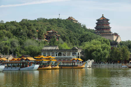 historic site: Marble boat at the summer palace outside Beijing, China
