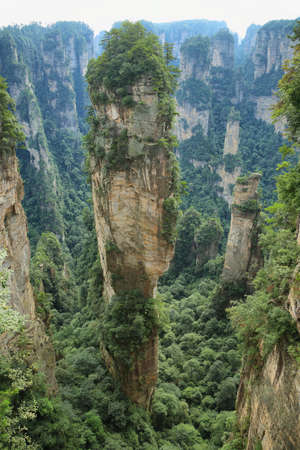 hallelujah: Hallelujah Mountain in Yuangjiajie area of Zhangjiajie national park, Hunan province, China. Stock Photo